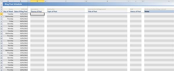Free blogging editorial calendar spreadsheet blogmoreoften maxwellsz